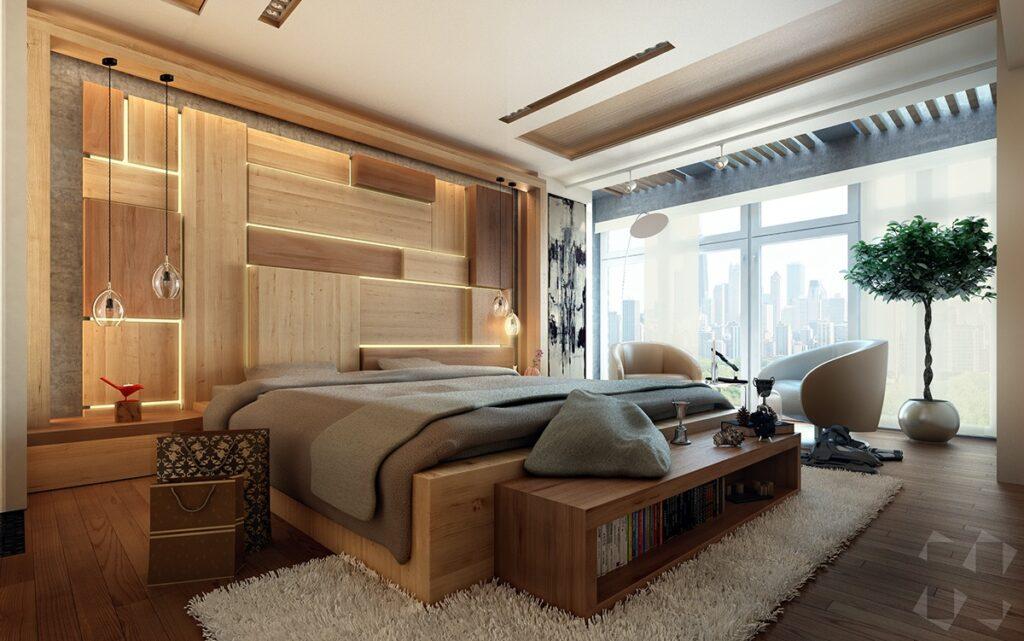 Блок хаус в спальне